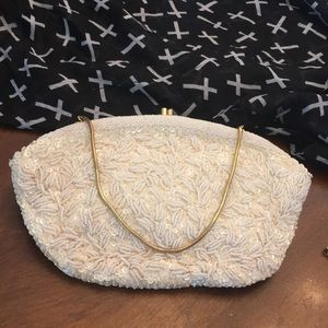 Vintage white beaded clutch